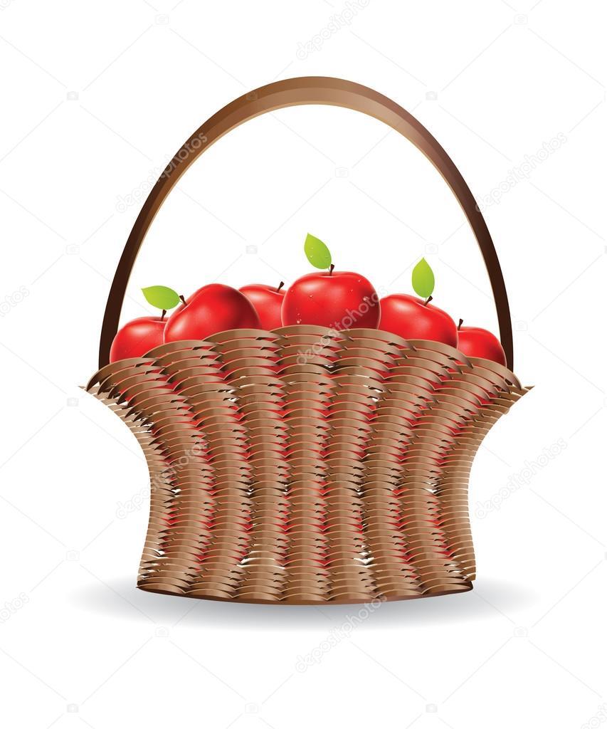 Яблоки в корзине картинка