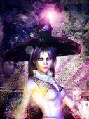 Grunge magiska flicka — Stockfoto