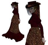 Vampire in vintage dress — Stock Photo