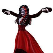 Gótica mulher de vestido vermelho — Fotografia Stock