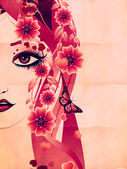 Grunge pink floral girl — Stock Photo