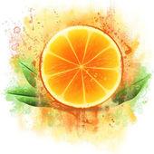 Grunge orange half — Stock Photo