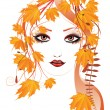 Vector de stock : Autumn floral girl