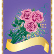 Stock Vector: Card with pink roses