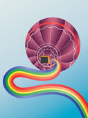 Air balloon with rainbow — Stock Vector