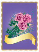 Card with pink roses — Stock Vector