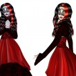Gothic woman in red dress — Foto de Stock
