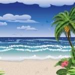 Palm tree on beach — Stock Vector