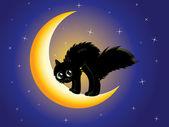 Black cat on moon — Stockvektor