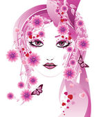 Pink floral girl — Stock Vector