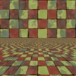 Stock Photo: Distorted colorful checkers