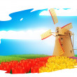 Windmill on field — Stock Photo