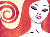 Girl with red hair and closed eyes — Stock Vector