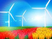 éolienne sur champ — Photo