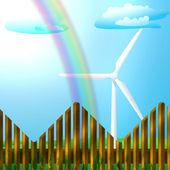 在字段上的风力发电机组 — 图库照片