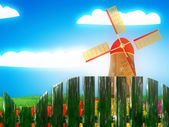 Windmill and summer landscape — Stock Photo