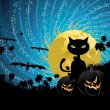 Halloween party background with cat — Stockvektor