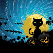 Halloween party background with cat — Stockvectorbeeld