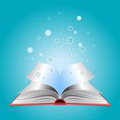 Libro abierto con las partículas — Vector de stock