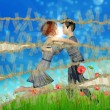 Teen couple on grass field — Stock Photo