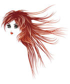 Girl with long red hair — Stock Vector