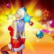 Christmas background with santgirl — Stock Photo #36229001