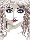 Brunette girl with blue eyes — Stock Vector