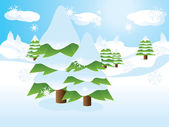 Fir trees on slope — Stock Vector
