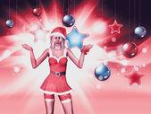 Christmas background with santa girl — Stock Photo