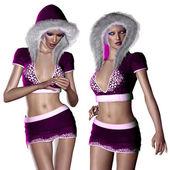 Woman in purple winter cloth — Stock Photo