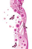 Rosa prydnad med blommor — Stockvektor