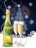 Kaart met champagne — Stockvector