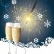 Champagne and sparkler — Stock Vector