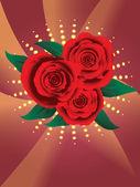 Kaart met rode rozen — Stockvector