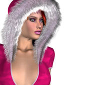 Girl in pink winter outfit — Foto de Stock
