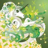 Spring unicorn — Vector de stock
