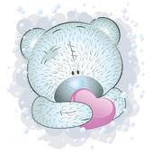 Blue teddy bear with heart — Stock Vector