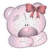 Růžový medvěd s lukem — Stock vektor