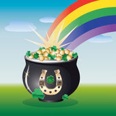 Landscape with pot of gold — Stock vektor