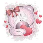 Pink bear with heart — Vector de stock