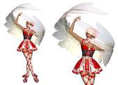 Dancing cupid girl — Stock Photo