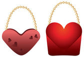 Heart shaped purses — Stock Vector
