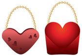 Heart shaped purses — Stock Vector