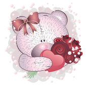 Pink bear with roses — Stock Vector