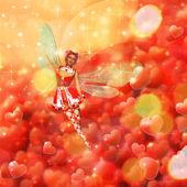 Valentine background with fairy — Foto de Stock