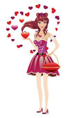 Girl in lovely outfit — Stock Vector