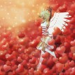 Valentine background with cupid — Stock Photo