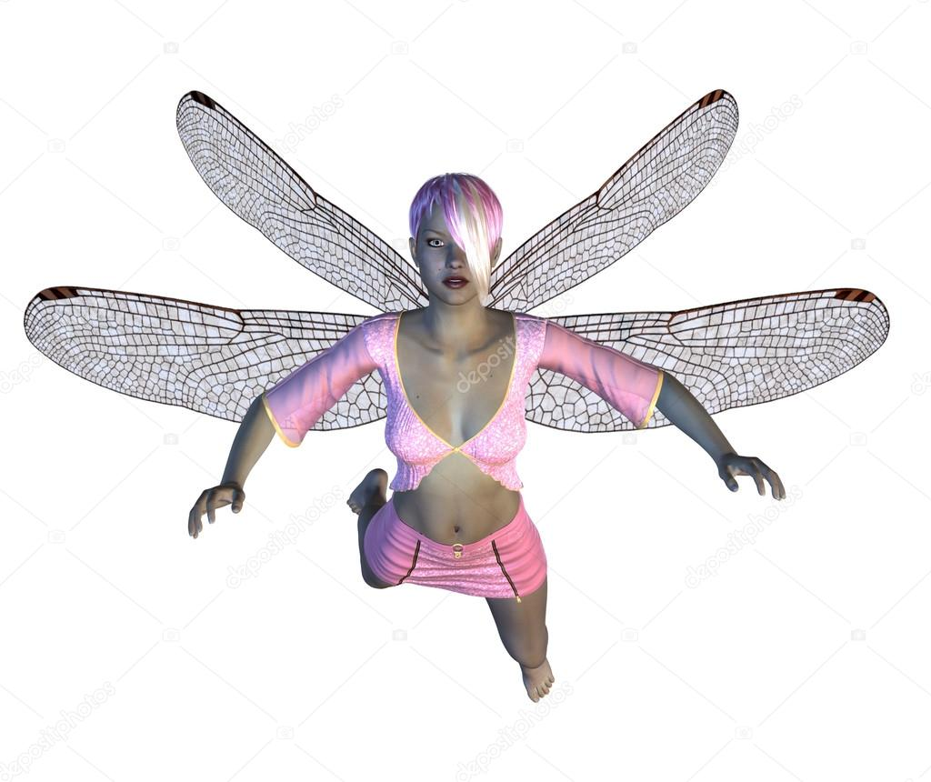与粉红色的蜻蜓翅膀的仙子