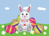 White bunny with Easter eggs — Stock Vector