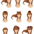 Brown hair in different styles — Stock Vector